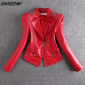 SWREDMI New Fashion Red Motorcycle Leather Jacket Women Rivet Zippers Biker Leather Coat Plus Size S-3XL Suede Outerwear 200930