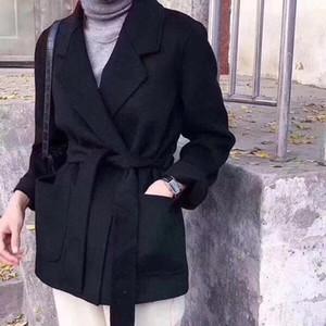 Lanas de las mujeres combinan las mujeres 2021 Abrigo de lana de doble cara de otoño e invierno con cinturón