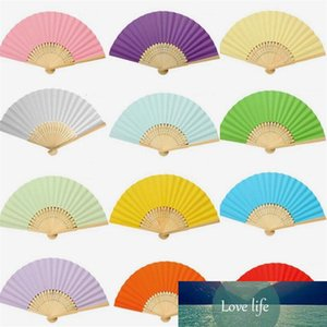50pcs lot Chinese Solid Color Paper Folding Fan Bamboo Handle Children's Painting Fan DIY Handmade Early Childhood Care Supplies