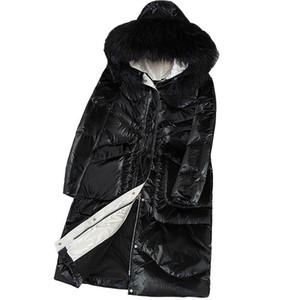 Korean New Winter Down Coat Women Big Fur Collar Parka Jacket Winter Long Warm White Duck Down Jacket Coat Womens Hooded Outcoat