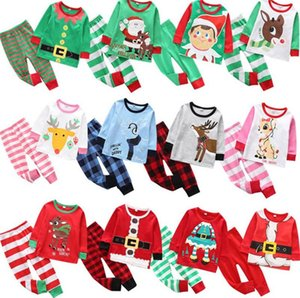 Christmas Kids Pajamas Set Tracksuit Two Pieces Outfits Santa Claus Elk Striped Xmas Pajamas Suits Sets Boys Girls Home Clothing AHA1651