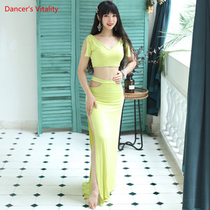 Belly Dance Female adult elegant V-neck Top Practice Clothes Suit Woman Profession Performance Shirt Long Skirt Set 200928