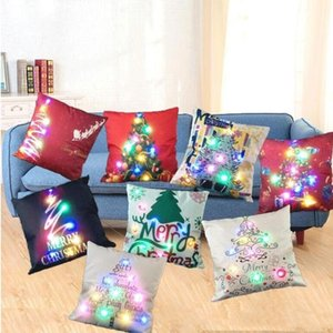 LED Pillow Case Cover Luminous Linen Pillows Covers Creative Light Cushion Cover Christmas Pillow Cases Home Sofa Car Decorations DDC4331
