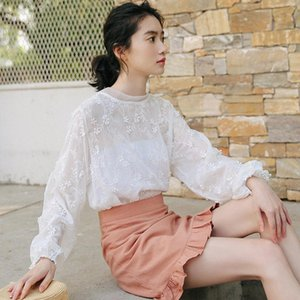Ailegogo Elegant Floral Print Women Blouse Sweet Embroidery Puff Sleeves Lace White Sweet Ladies Shirts Casual Femme Tops Modis