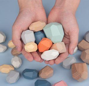 12pcs Montessori educativi Giocattoli di legno Legno Pietra Set di bilanciamento blocchi di legno naturale giocattolo Montessori gioca il regalo precoce educazione jllyCO