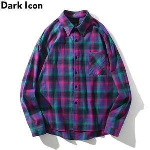 Dark Icon Turn-down Collar Flannel Plaid Sihrt Men Fashion Hip Hop Shirt Summer Street Long Sleeve Shirts Streetwear 201021