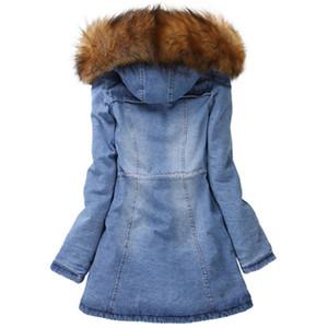 Флис с капюшоном джинсовой пальто женщин Дизайнерские с длинным рукавом Толстые зимы теплые куртки Сплошной цвет ретро Тонкий Женщины Верхняя одежда