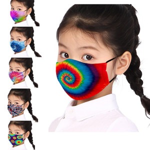 17 estilos Máscara Facial Crianças Crianças Tie-dye impressão máscaras Designer lavável rosto reutilizável máscara protetora grátis DHL navio HH9-3348
