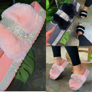 QdYSv Open for Cozy Fluffy House Slippers Fuzzy high quality Plush Criss Cross home slipper Furry Slides Indoor Outdoor Slippers Toe