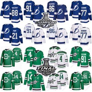 2020 Tampa Bay Lightning свитеров Stamkos 86 Кучера 77 Hedman 88 Василевский Даллас Старз 91 Seguin 14 Бенны 4 Heiskanen Джерси 91 хоккея