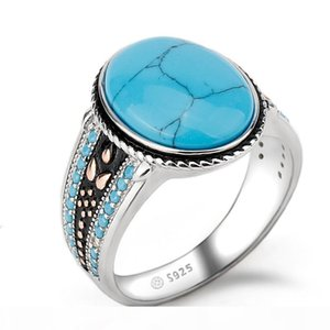 925 Sterling Silver Turquoise Ring Oval Sky Blue Stone Life Track Significance Ring for Men Wedding Fine Jewelry