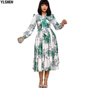 3XL African Print Dresses for Women Long Sleeve Bow Robe Femme African Dress Dashiki Kaftan Dress Africa Plus Size Boho Clothing