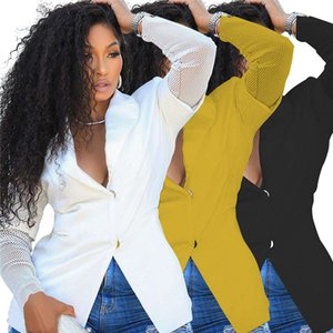 Frauen-beiläufige Klage-Blazer-Mantel Mode Mesh-Patchwork Solid Color Langarm-Mantel-Frauen-Designer-Kleidung