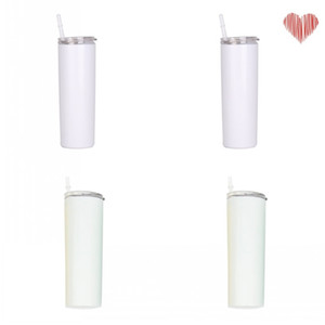 Stainless Steel Tumblers Sublimation Blanks Straight Skinny Plastic Suction Tubes Lid Cups 20oz Winter Warm Outdoor Water Mug Household N2