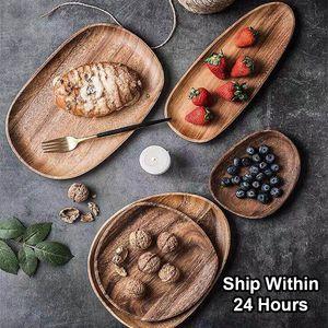Whole bois de bois irrégulière ovale en bois massif Pan plaque de fruits Vaisselle soucoupe Plateau thé Dessert Assiette Vaisselle Set