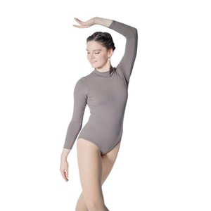 Retail Wholesale Black Cotton Lycra Long Sleeve Turtle-Neck Zipper Back Ballet Leotard for Girls and Ladies