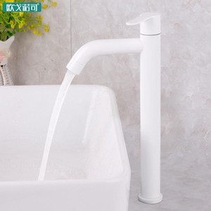 White bathroom basin faucet european style 304 stainless steel single cold water tap