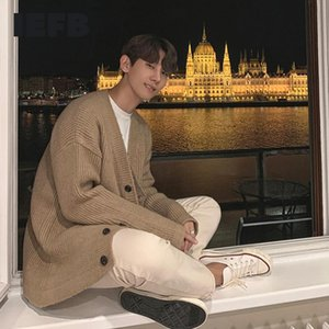 IEFB loose knit cardigan swaeter men's autumn winter thickening Korean fashion casual kintwear clothes loose big size tops Y4493