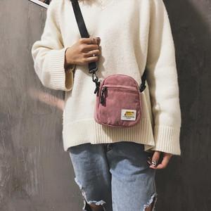Women Mini Canvas Shoulder Bag Small Corduroy Cloth Messenger Bag For Keys Phone Pink Crossbody Bags Cute Zipper Purse For Girls