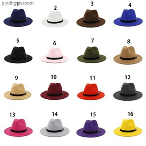 Frauen Panama Lady Filz Wolle Fedora Hut Wide Rand Casual Outdoor Jazzkappe 16 Farben