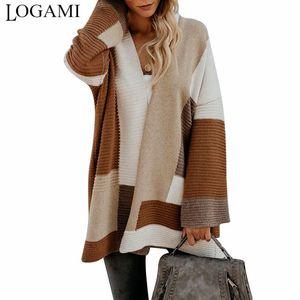 LOGAMI Geometric Splice Cardigan Frauen Herbst-Winter-lose Strickjacken Frauen Pullover Long Coat 200929