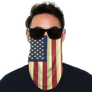 Amerikan Bayrağı Balaclava Yarım Yüz Maskeleri Açık Bisiklet Bandanalar Eşarp Kafa Atkılar Yıkanabilir Koruyucu Yüz Maskesi-2 ADET Karbon Filtreler