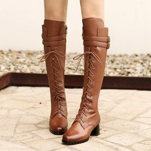 Gigifox 2020 On Sale Genuine Leather British Style Knee High Boots Women Shos Chunky Heels Zipper Fashion Boots Female