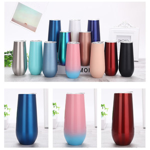 Reusable 6oz Stainless Steel Stemless Double-insulated Cocktail Cups Eco-friendly Wine Tumbler Rose Gold Champagne Flutes For Wedding Gift