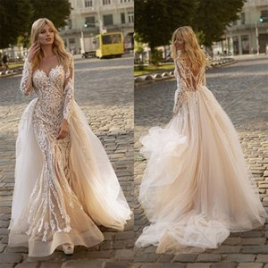 New Arrival Mermaid Wedding Dresses With Detachable Train Appliqued Lace Bridal Dress Long Sleeves Custom Made Gorgeous Robes De Mariée