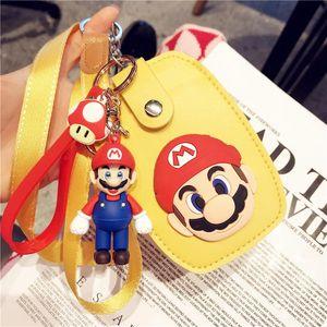 New Super Mario Bros Keychain Cartoon 3D Super Mario Keyring Fashion Bag Charms cutting ferrule Keychains Trinket Kid Gif