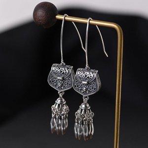 S925 Sterling Silver Hollwed Tassel Drop Earring Woman Retro Tassel Sachet Dangle Earring Women Elegant Jewelry Gift
