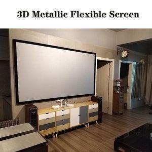 3D Metal Projector Screen Focking Aluminum Alloy Fixed Frame Metallic Flexible Projection screens 6.5cm Border