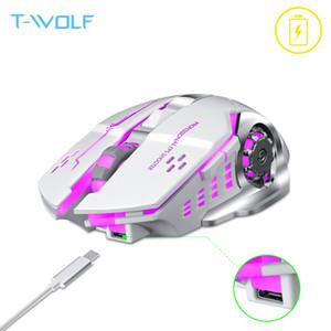 T-Wolf Q13 Rechargeable Souris Silent Silent Ergonomic Gaming Mice 6 clés RVB Rétro-éclairage 2400 DPI pour ordinateur portable PRO GAMER LJ200930