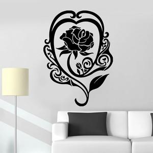 Rose Flower Wall Decal Love Romantic Art Door Window Vinyl Stickers Retro Bar Bedroom Living Room Home Decoration Wallpaper 018