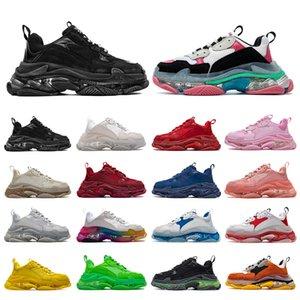 CALIENTE Hombres Mujeres Zapatos papá 17FW Triple S zapatos casuales burbuja transparente de fondo negro zapatillas de deporte de los hombres rojo viejo Chaussures 36-45