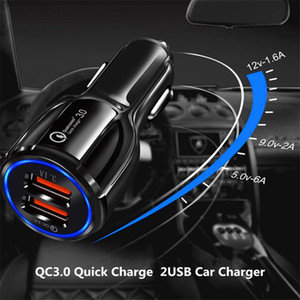QC3.0 Double U Port 3.1A Car Charger Dual USB Fast Charging QC Phone Car Quick Charger Adapter For iPhone 12 11 Pro Max Xiaomi Redmi Huawei