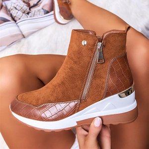 2020 low-tube warm round toe winter solid color inner increase side zipper brown female boots thick-soled snow boots