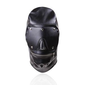 Schablonen-Augen-SM T200410 Leder Open Mouth Hood Fetisch Spielzeug Bondage Erotic Ball-Paar für Frauen Adult Game Geschlechts-Produkt Gag Männer Augenmaske SM Bhlk