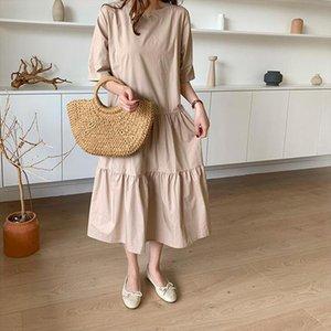 Kadınlar Pamuk Yaz Elbise 2021 Kore Tarzı Gevşek Boy Uzun Elbise Robe Femme Ins Chic Womens Casual Vintage