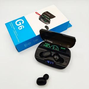 G6 سماعات بلوتوث لاسلكية مع ميكروفون الرياضة الألعاب TWS سماعات بلوتوث سماعات 2200mAh صندوق شحن لسامسونج Xiaomi Huawei
