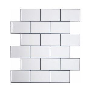 Vividtiles Tiles blancos más gruesos de metro Peel and Stick Tiles Premium Wall Stick on Tiles Kitchen Backsplash - 5 piezas Pack 201130