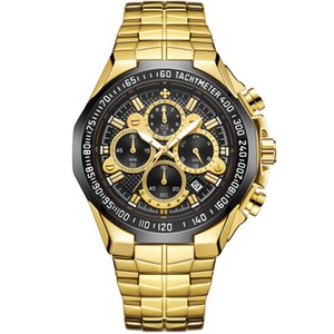 Wwoor de alta calidad siete aguja hombre movimiento sección de acero trae cuarzo reloj de pulsera a prueba de agua 2021chronograph relojes relojes al por mayor