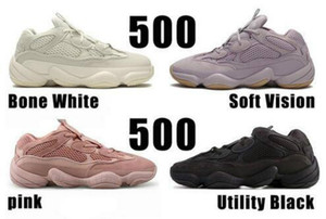 Top Mens White Bone 500 Chaussures de course Vision Femmes souple Utility Noir Kanye West Salt super Lune Jaune Rose Designer de sport Formateurs