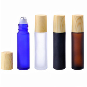 10ml Portable Frosted Brown Blue Black Clear Roll on Roller Bottles for Essential Oil Ball Refillable Perfume Bottle