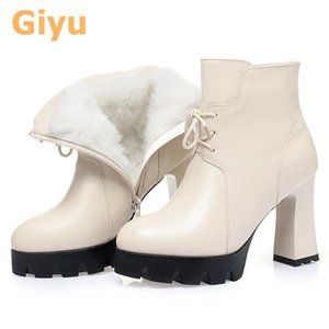 Giyu 2020 automne et hiver nouveau plus velours bottes pointues talons hauts bottes nues bottes pleines de vachette de vachette