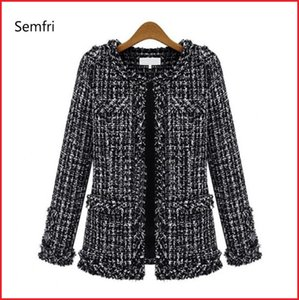 Semfri Coat Women Spring Autumn Basic Jacket Suit Black and White Female Base Plaid Coat Suits Elegant Top Slim Streetwear 201013