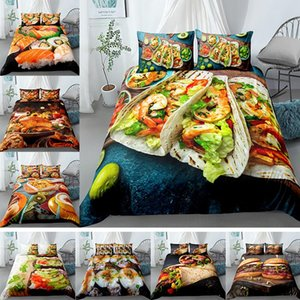3D Pattern Delicious Cover Bedding Set Vivid Turkey Burger King Queen Full Size Unisex Luxury Comforter with Pillowcases