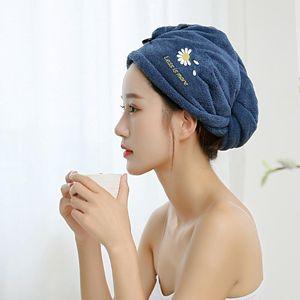 Fsislover Salle de bain Femme Serviette épaisse Microsoft Tissu Toile Serviette Daisy Broderie Boucles Double Boucles rapides Séchage rapide Cheveux