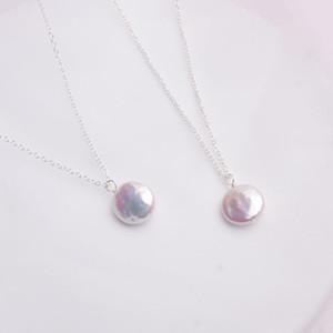 Ashiqi 12-13mm Büyük Doğal Düğme Tatlısu Inci Kolye Kolye Kadınlar Için 925 Ayar Gümüş Takı Moda Hediye 0215