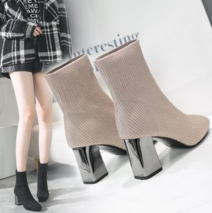 Metal Blade Heels Socks Boots Women Stretch Fabric Elastic Stilettos Heel Pointed Toe Ankle Boots Shoes Woman Boats F017